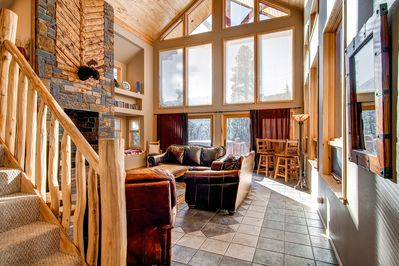 Large family room with wood burning stove