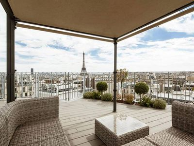 Photo for Spacious Rooftop Copernic apartment in 16ème - Bois de Boulogne - Trocadero with WiFi, integrated a…