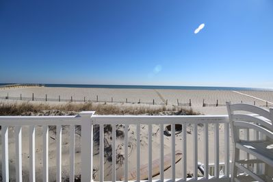 View from upper deck with private beach path walkway in the distance