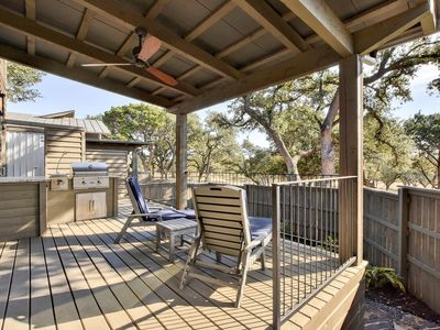 Photo for 1BR Chic Cabin w/ Fireplace, Outdoor Kitchen, Pool, Spa & Lake Travis Marina