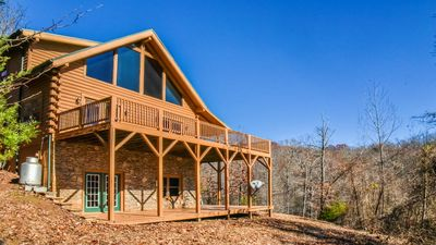 Photo for 3 bedroom log home, w/view, private on 2 acres