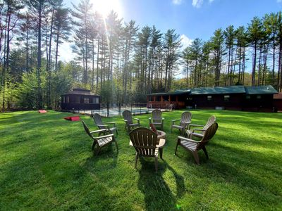 Adirondack luxury cabin with heated pool minutes from Lake George