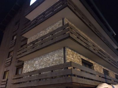 Building facade of stone and wood