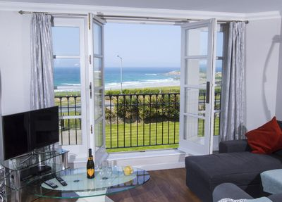 Living room overlooking Fistral Beach