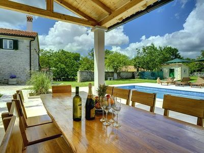 Photo for Large villa with private pool, 7 bedrooms, 4 bathrooms, washing machine, WiFi, sunbeds, volleyball court and great barbecue area