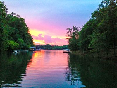 Lake Hartwell sunset seen from dock (when lake is full!)