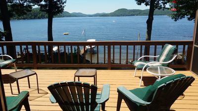 Photo for Schroon Lake waterfront with beautiful beach, dock and Adirondack mountain views