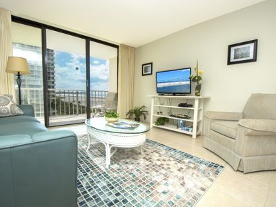 Photo for This beautiful two bedroom/two bath condo is located with the nicest view of the beach.