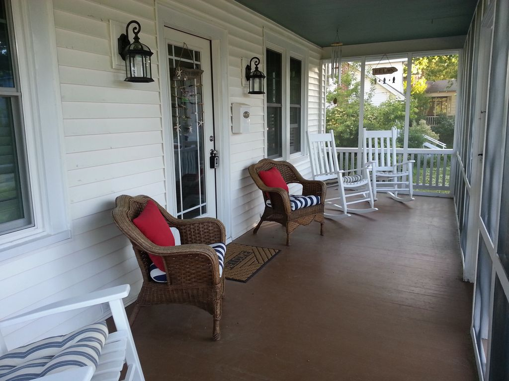 Spacious Front Porch Screened In