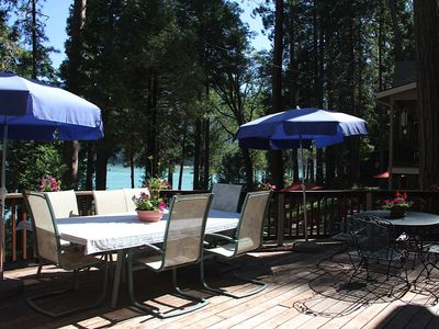 Front deck with complete seating for 12 over looking the lake.