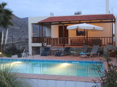 Photo for Vacation Home in Chania Felia villa private Pool 200m from the beach of Stavros
