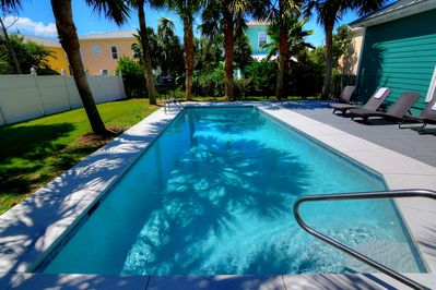 Relax at the pool in your private backyard