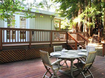 Photo for WAGGING WOODS: Magical Cabin in Redwoods | Hot Tub | Woodstove | Fenced Yard