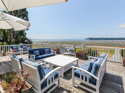Photo for NEW LISTING! Spacious and modern home with huge deck overlooking Useless Bay!