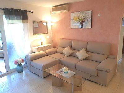 Photo for Cozy apartment m. Garden, barbecue, air, gas, parking., Pool, WiFi, playground