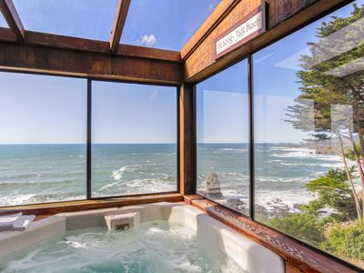 Photo for Oceanfront w/ incredible views, decks & a hot tub - close to town, 1 dog OK!