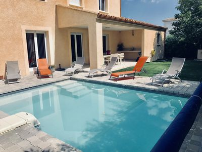 Photo for Villa with swimming pool in the heart of vineyards close to the beaches of Marseillan / Cap d'Agde