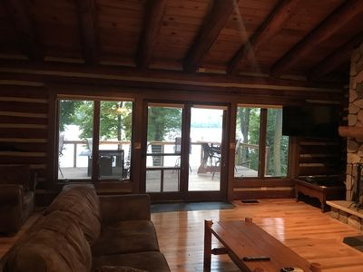 Photo for Luxury log cabin on the north end of long lake!!  Sarona Wi, close to Hayward!!