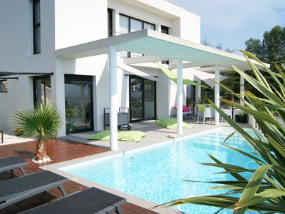 Photo for contemporary villa with pool and sea view in the Croix des gardes