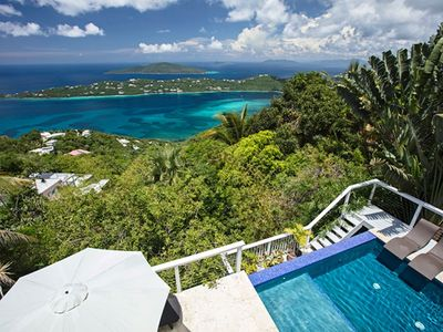 Photo for Sweeping view of Magens Bay & Tropical Lagoon Pool, Private Sundecks