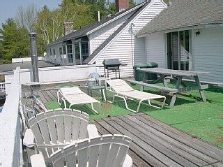 Large deck overlooking lake