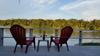 Relax on the large deck and enjoy the river view.