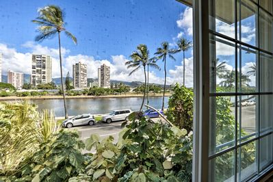 Enjoy views of the Ala Wai canal directly from your home-away-from-home.