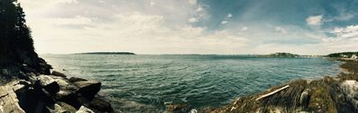 Panoramic views from the end of the path to the water