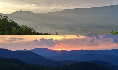 Two 5-star views: Sunrise from the front deck,  sunset from the back.