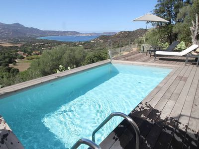 Photo for Modern villa, spectacular heated pool and views of the Bay of Calvi