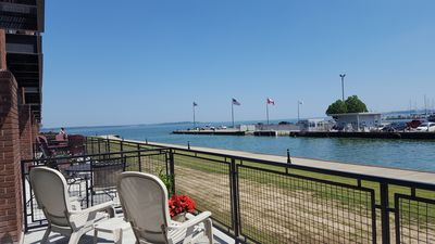 This is your patio overlooking Lake Erie and Cedar Point