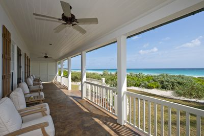 Beachfront porch of the French Leave Villa Dogtrot