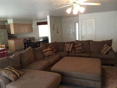 Family Room with sectional that can turn into bed.