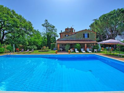 Photo for Stunning private villa with WIFI, private pool, TV, patio, panoramic view, parking, close to Arezzo