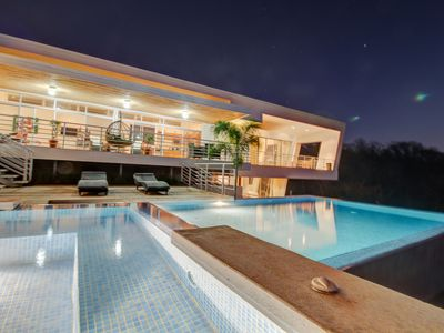 Photo for Spectacular, ultramodern villa w/ a private pool & hot tub - view of the ocean