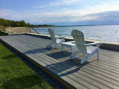 Waterfront deck with view of Bristol Town Beach & Colt State Park steps away.