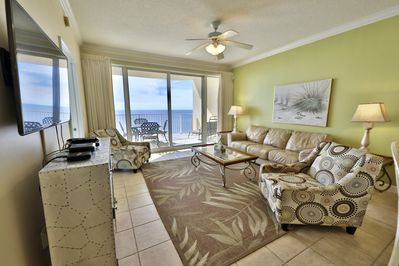 Living room overlooking the beautiful Gulf of Mexico.