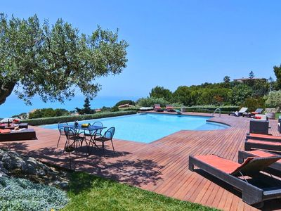 Photo for Beautiful 19th Century Farmhouse with amazing pool, mediterranean garden and sea views