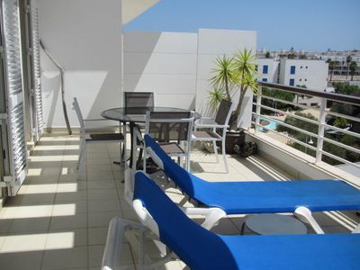 Large sunny balcony with views to Marina and Lagos Town