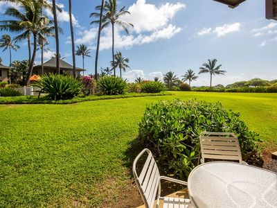 Photo for Easy Kauai Living! Lanai to Lawn, Full Kitchen, WiFi, Ceiling Fans–Kaha Lani 102