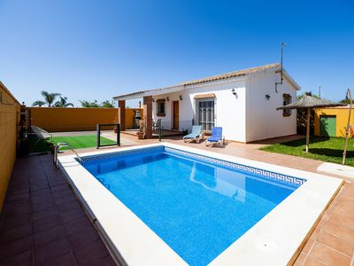 Photo for Rustic Home Close to Beach with Pool, Terrace, Garden & Wi-Fi; Pets Allowed, Parking Available