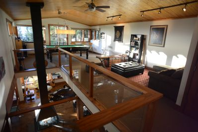 Top floor games room with 3/4 size teak billiard table