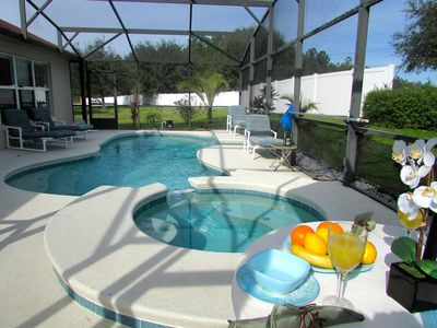 Vision your breakfast out by The Beautiful Private Pool & Spa in the Morning's