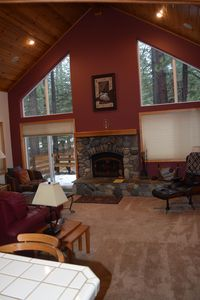 Living Room with wooded lot and back deck
