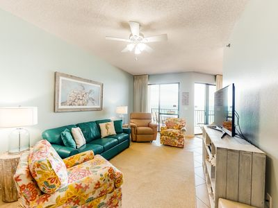 Photo for NEW LISTING! Stylish condo w/ balcony, gulf views, tennis courts & beach access!