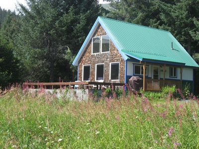 Photo for House with full kitchen, large deck, across from beach & views of the mountains