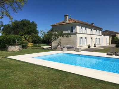 Photo for Beautiful large Charentaise House, own use pool, gardens, near Saintes