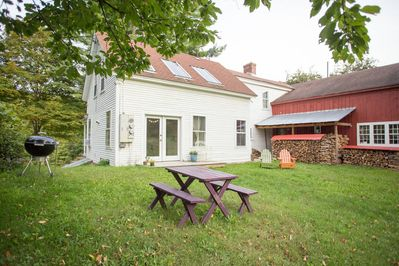 Back deck, picnic table, grill and 10 acres of rolling hills out your back door.