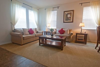 spacious open plan living and dinning room