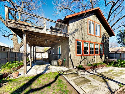 Exterior - Welcome to Austin! On the ground level, a covered patio extends from the side of the house.